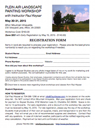 Registration form for Plein Air painting workshop with Paul Keysar, May 30-31, 2015, Afton Ridge Vineyards, Afton, VA