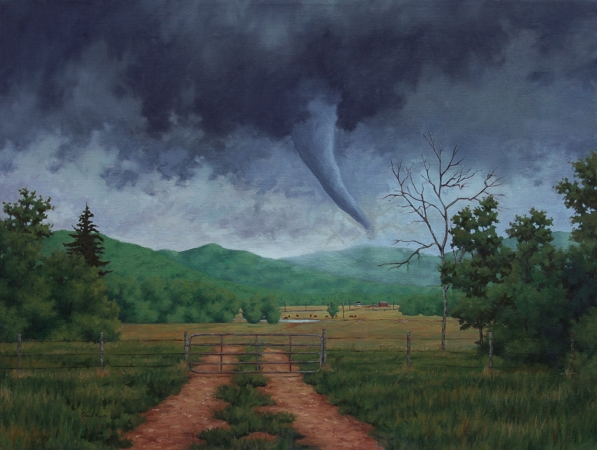 Descent - Traditional Realism tornado Painting by Paul Keysar