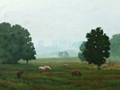 Sheep in the Fog, original landscape painting by Paul Keysar