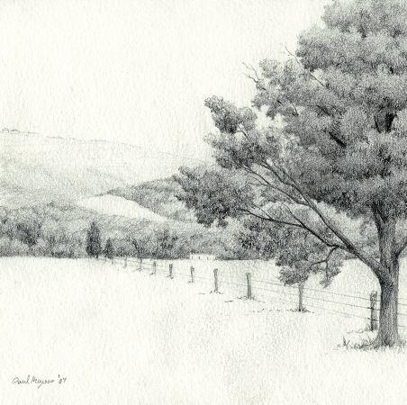 Sketch for Autumn Rain - Graphite Drawing by Paul Keysar
