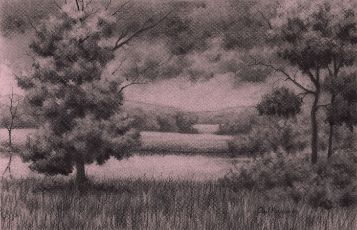 Through the Trees - Charcoal Drawing by Paul Keysar