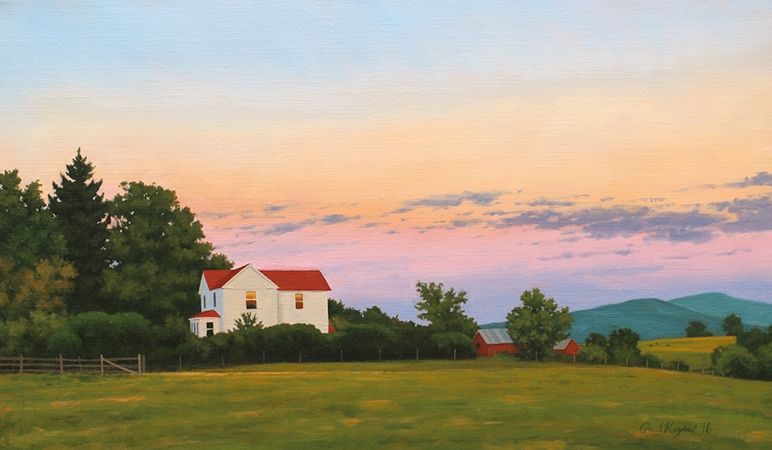 Farm House at Sunset - Traditional Realism Landscape Painting by Paul Keysar of Charlotte, NC