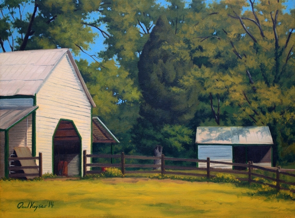 Frank's Barn - Classical Realism Plein Air Landscape Painting by Paul Keysar