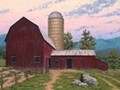 The Old Barn at Sunset, original oil landscape painting by Charlotte artist Paul Keysar