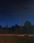 By the Tracks, original night series landscape painting by traditional realism artist Paul Keysar