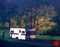 Camper, Original Night series landscape painting by Paul Keysar