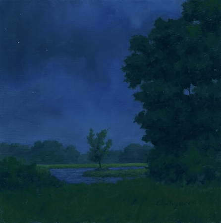 Cloudy Night - Traditional Realism Painting by Paul Keysar