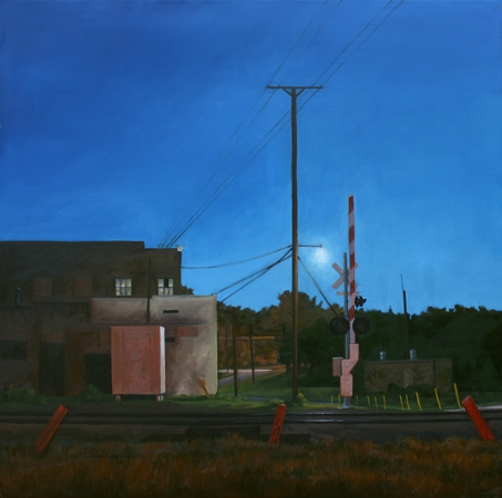 Corban Ave Railroad Crossing, Left - original Night series landscape Painting by Paul Keysar
