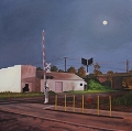 Corban Ave Railroad Crossing, Right, Original Night series landscape painting by Paul Keysar
