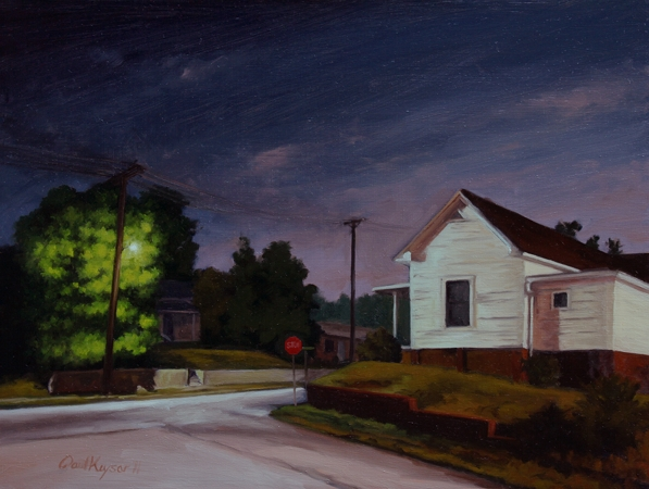 Corner of Corban and Robbins - Traditional Realism Painting by Paul Keysar