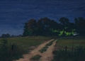 Light in the Woods, Original Night series landscape painting by Paul Keysar