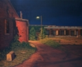 Loading Docks, original night series landscape painting in oil by traditional realism artist Paul Keysar