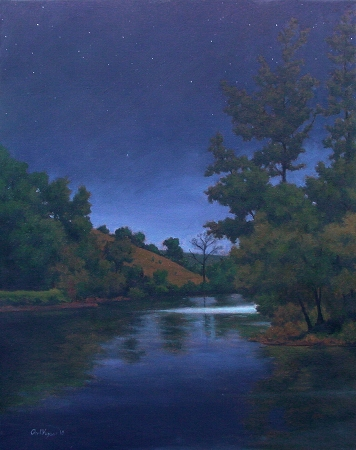 Nolichucky at Night - original Night series landscape Painting by Paul Keysar