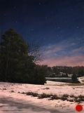 Pond in the Snow at Night, Original Night series landscape painting by Paul Keysar