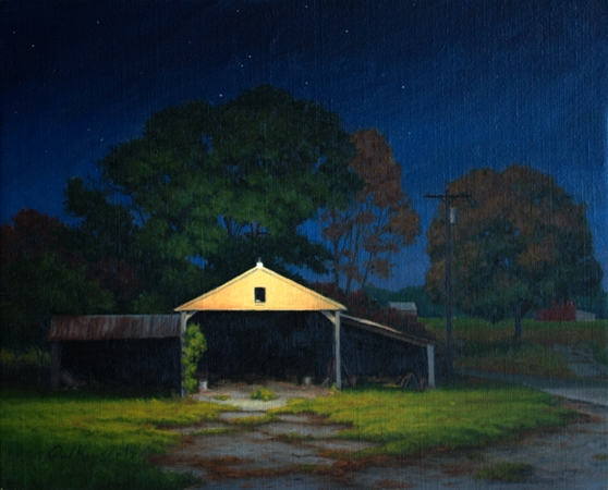 Shed Light - Traditional Realism night Painting by Paul Keysar