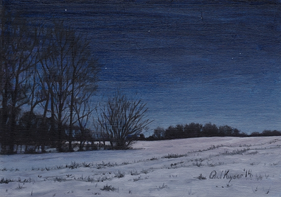 Pond in the Snow at Night - Traditional Realism night Painting by Paul Keysar