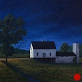 White Barn at Night, original night series painting by Paul Keysar