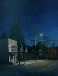 Cabarrus Ave at Night, original night series painting of Concord, NC, by Paul Keysar