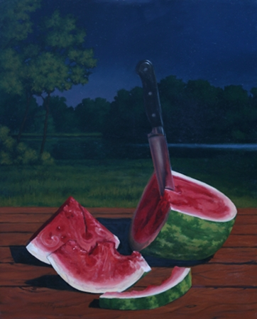 Watermelon, Summer Night - Traditional Realism night Painting by Paul Keysar