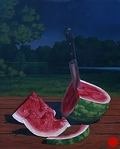 Watermelon, Summer Night, original night painting in oil by Paul Keysar