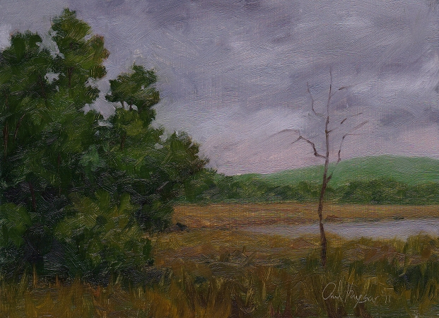 Gray Pond Sketch - Traditional Realism Landscape Painting by Paul Keysar