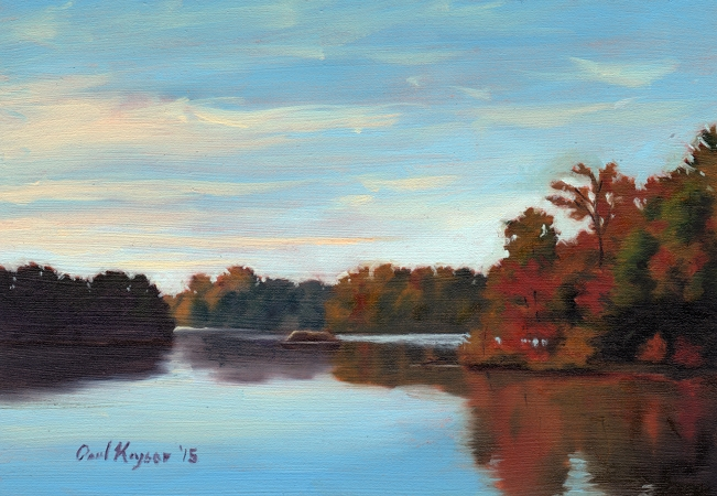 Autumn at the Lake - Plein Air Landscape Painting by Paul Keysar