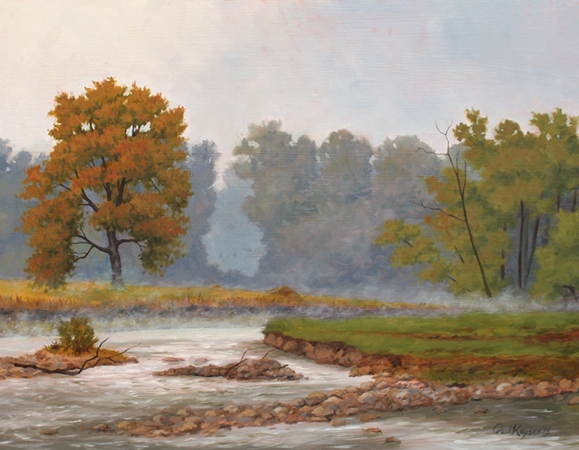 Bath County Fog - VA Plein Air Landscape Painting by Paul Keysar