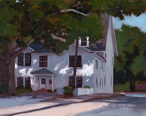 Corner of Glenwood and Washington, original plein air landscape painting by Paul Keysar, Charlotte, NC