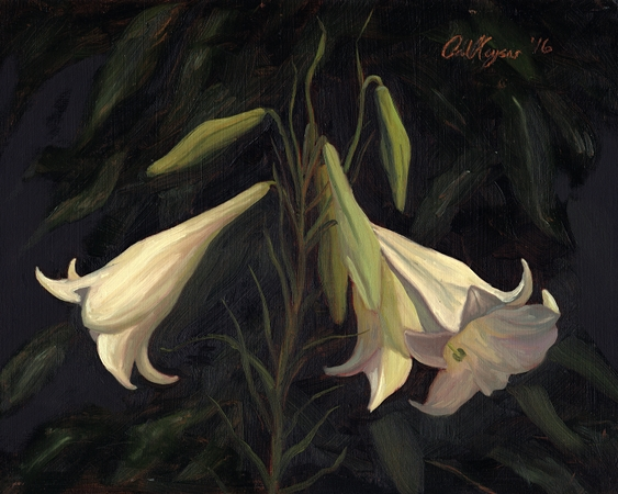 Formosa Lily - NC Plein Air floral Landscape Painting by Paul Keysar