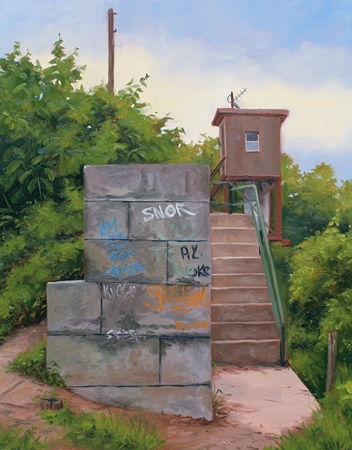 Graffiti at the Lock - Great Shiplock Park Richmond VA Plein Air Landscape Painting by Paul Keysar