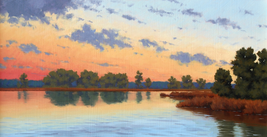 Kent County Sunset, original plein air painting of Chestertown, MD, by Paul Keysar