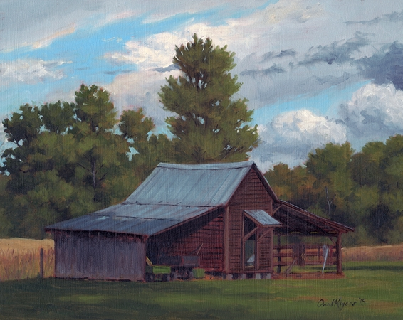 Farm Shed - Plein Air Landscape Painting by Paul Keysar