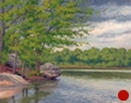 Spring Storm Over the Lake, plein air landscape painting by artist Paul Keysar