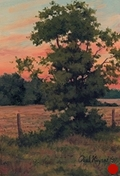 Sunset Over the Field, plein air landscape oil painting by Paul Keysar