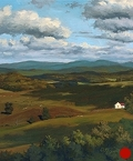 View from Chateau Morrisette, original plein air landscape oil painting by Paul Keysar