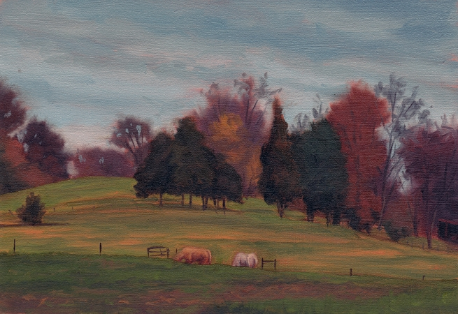 Last Remnants of Autumn - Plein Air Landscape Painting by Paul Keysar