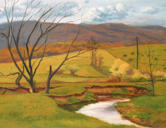 Middle River View, plein air painting by artist Paul Keysar