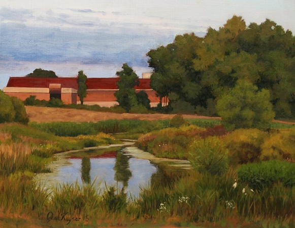 Pond in Easton - Easton MD Plein Air Landscape Painting by Paul Keysar