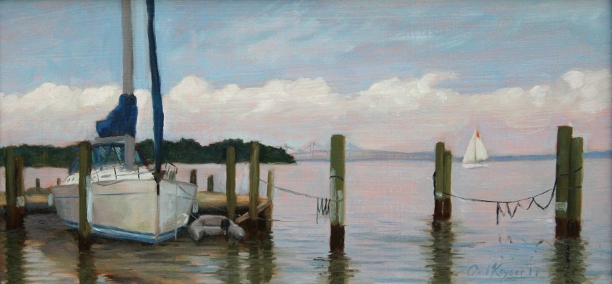 Southern Accent Docked on the Back Creek, original plein air painting of Eastport, MD, by artist Paul Keysar