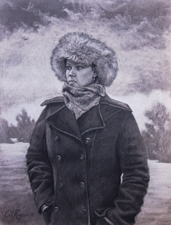 Carolyn in a Fur Hat - original post contemporary realism portrait drawing with landscape by Paul Keysar