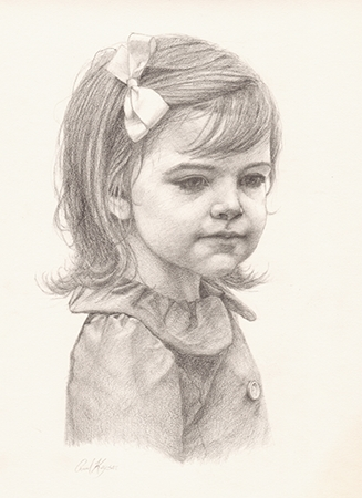 Jane Evelyn at Age 3 - original graphite portrait drawing by Paul Keysar