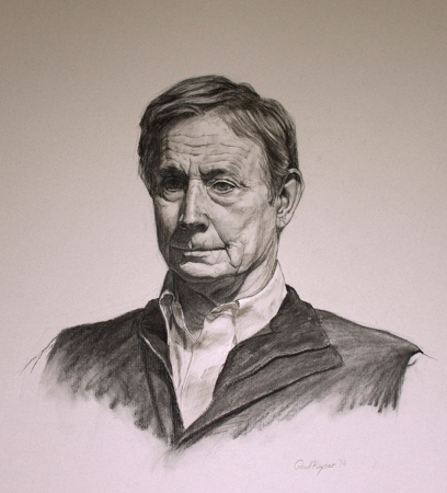 Dr. Charles Dana Hershey Jr. - original charcoal and white chalk portrait drawing by Paul Keysar of Charlotte, NC