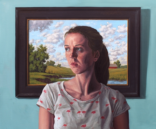 Alise with Her Head in the Clouds - original post contemporary realism portrait painting with landscape in oil by Paul Keysar