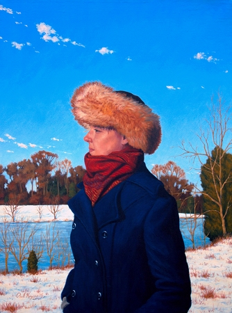 In Hope of Spring - original post contemporary realism portrait painting with landscape in oil by Paul Keysar