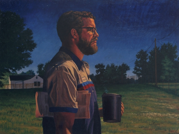 Morning Commute - original post contemporary realism night portrait painting with landscape in oil by Paul Keysar