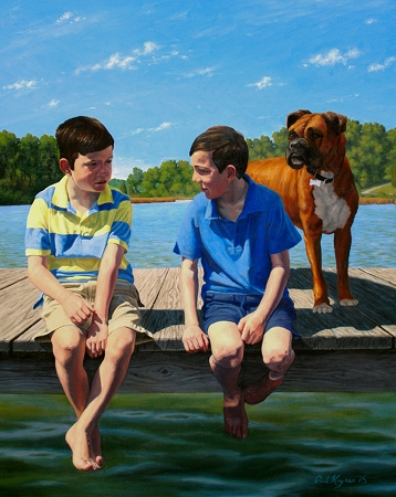 The McGuire Boys - commissioned portrait painting of twin brothers and pet boxer dog on a dock on the South River, Annapolis, MD, by artist Paul Keysar