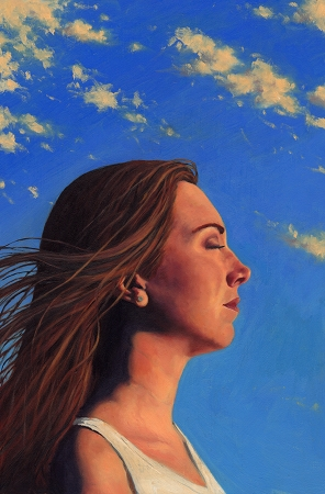 Such Great Heights - original post contemporary realist portrait painting with landscape in oil by Paul Keysar