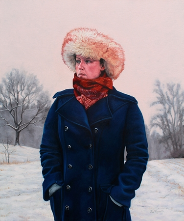 Winter Solstice - original post contemporary realism portrait painting with landscape in oil by Paul Keysar
