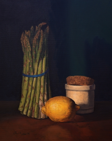 Asparagus with Lemon - Traditional Realism Painting by Paul Keysar